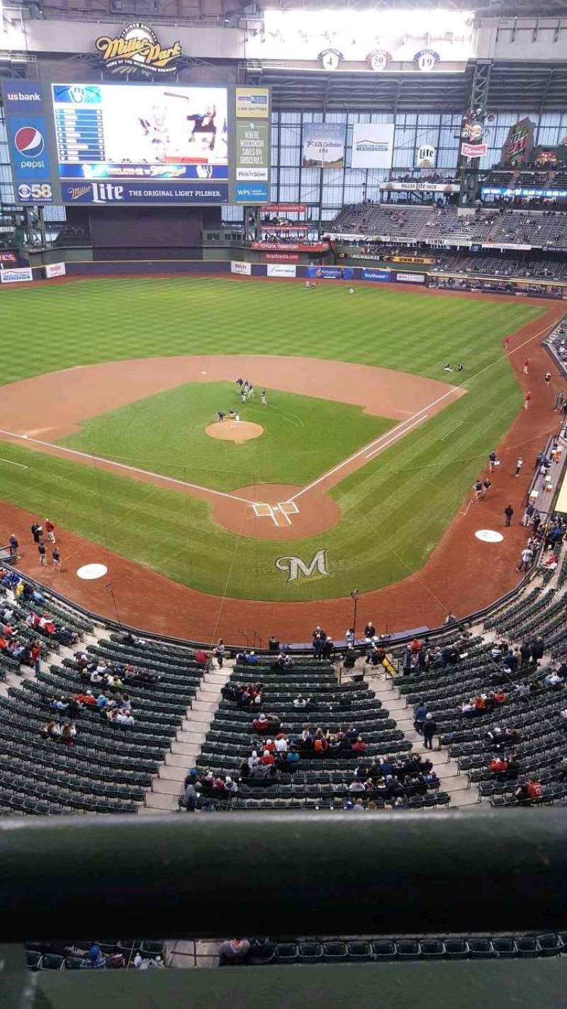 Seating view for Miller Park Section 423 Row 1 Seat 11