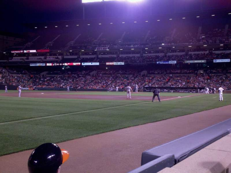 Seating view for Oriole Park at Camden Yards Section 64 Row 1 Seat 1