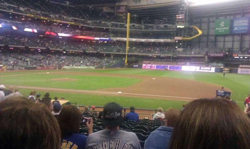 Seating view for Miller Park Section 112 Row 18 Seat 13