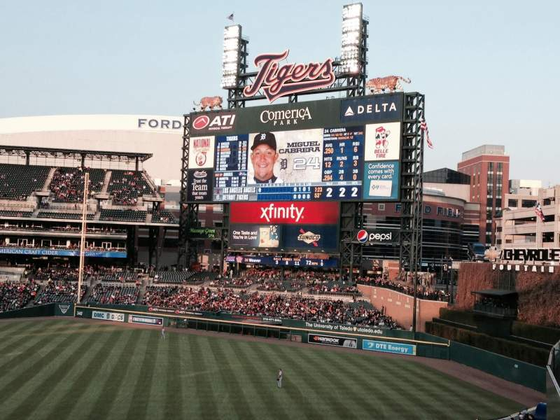 Seating view for Comerica Park Section Pepsi Porch Row 1 Seat 8