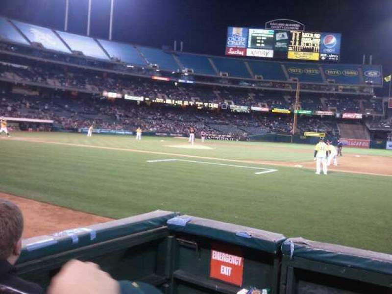 Seating view for Oakland Alameda Coliseum Section 115 Row 1 Seat 13