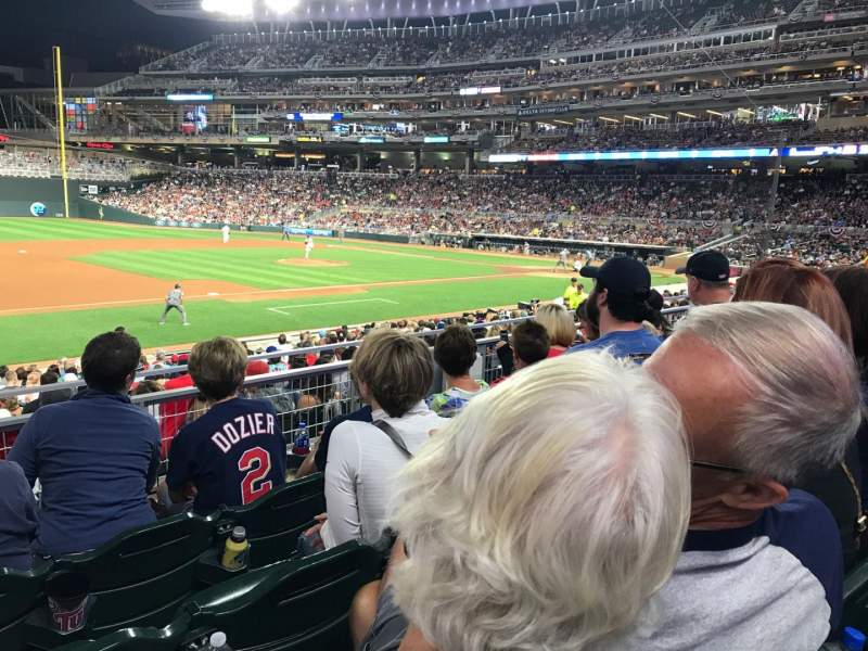 Seating view for Target Field Section 121 Row 4 Seat 21