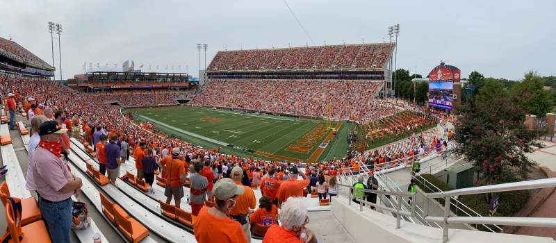 Seating view for Memorial Stadium, Clemson Section UA Row J Seat 1