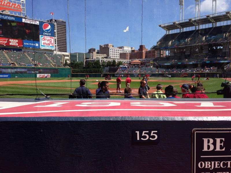 Seating view for Progressive Field Section 155 Row F Seat 1