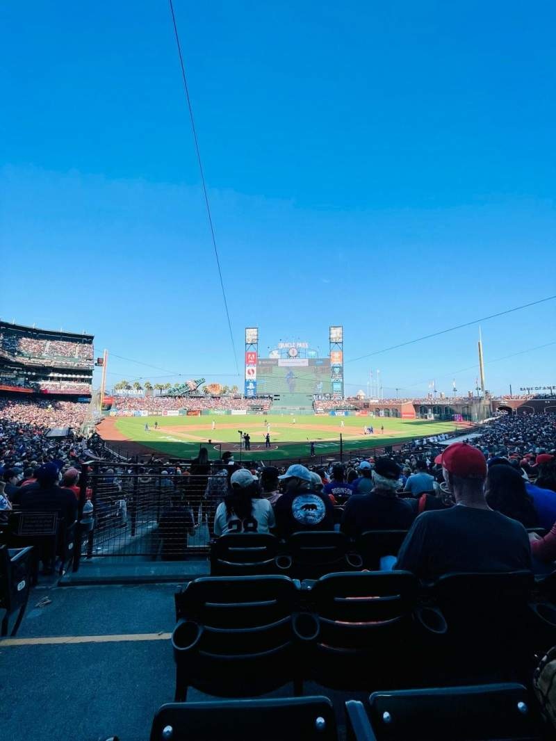 Seating view for Oracle Park Section 114 Row 26 Seat 11