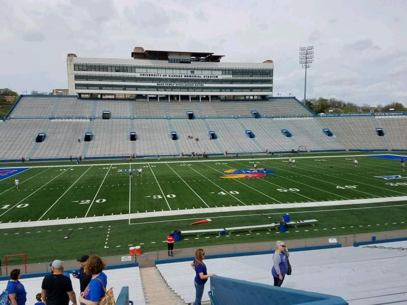 Seating view for David Booth Kansas Memorial Stadium Section 23 Row 29 Seat 1
