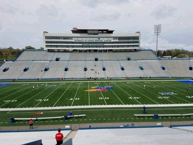 Seating view for David Booth Kansas Memorial Stadium Section 21 Row 33 Seat 25