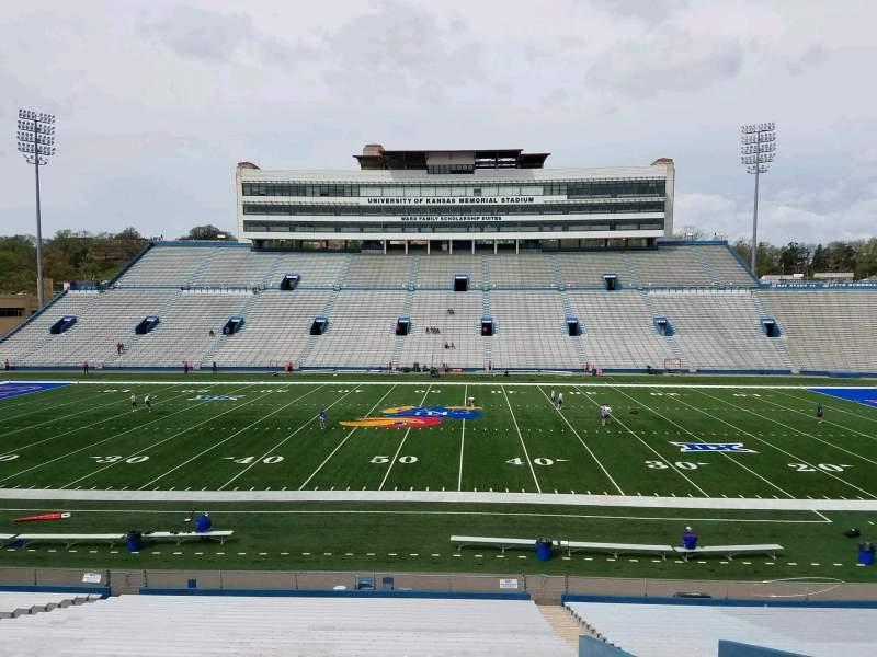 Seating view for David Booth Kansas Memorial Stadium Section 21 Row 33 Seat 5
