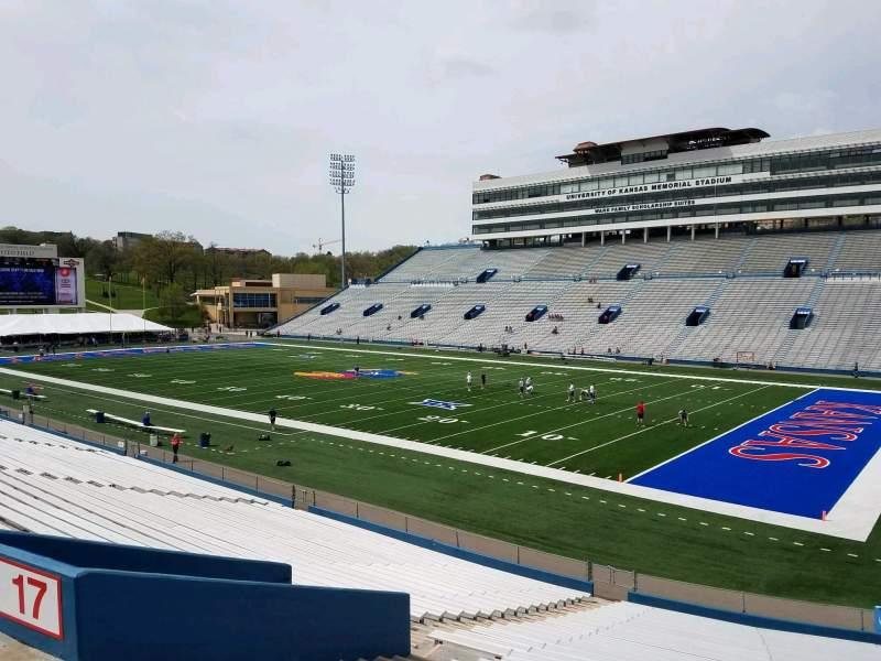 Seating view for David Booth Kansas Memorial Stadium Section 17 Row 30 Seat 35