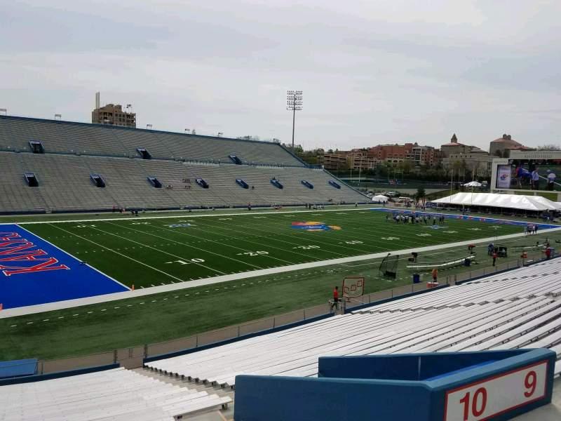 Seating view for David Booth Kansas Memorial Stadium Section 10 Row 30 Seat 10