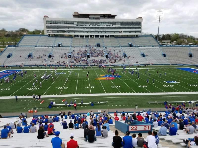Seating view for David Booth Kansas Memorial Stadium Section 22 Row 42 Seat 5