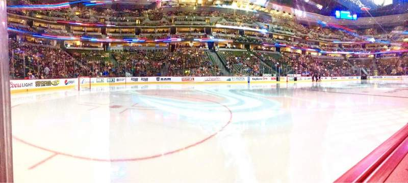 Seating view for Pepsi Center Section 104 Row 1 Seat 13