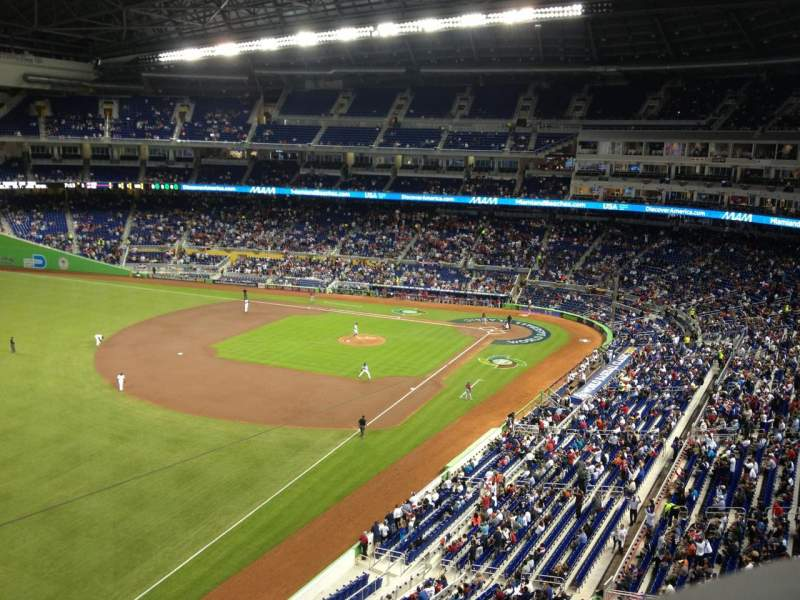 Seating view for Marlins Park Section 327 Row A Seat 1