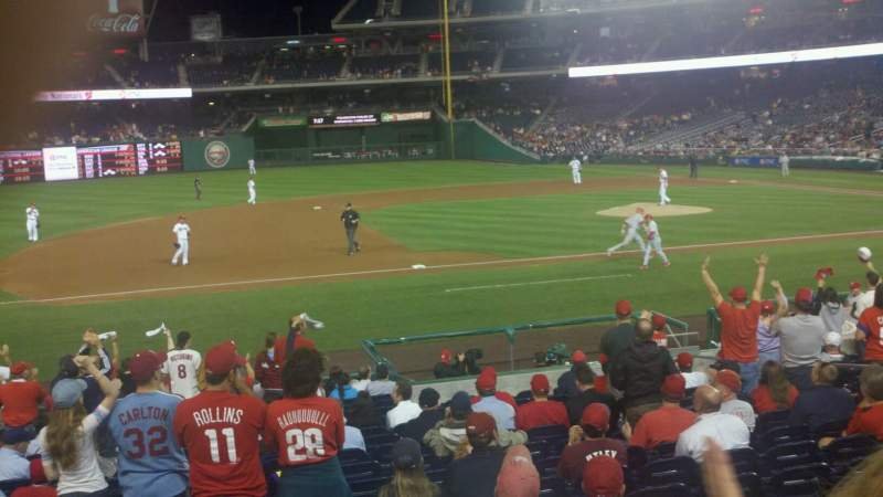Seating view for Nationals Park Section 115 Row v Seat 13