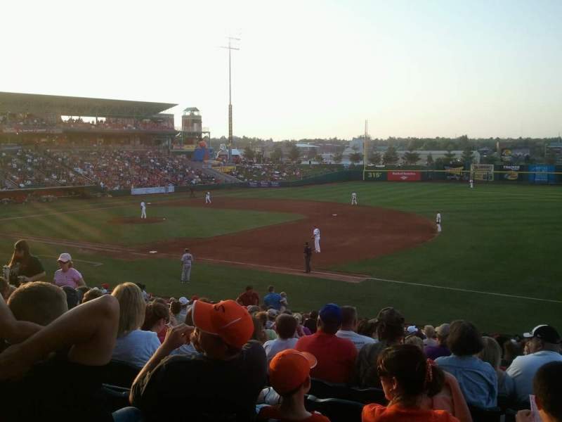Seating view for Hammons Field Section B Row 23 Seat 8