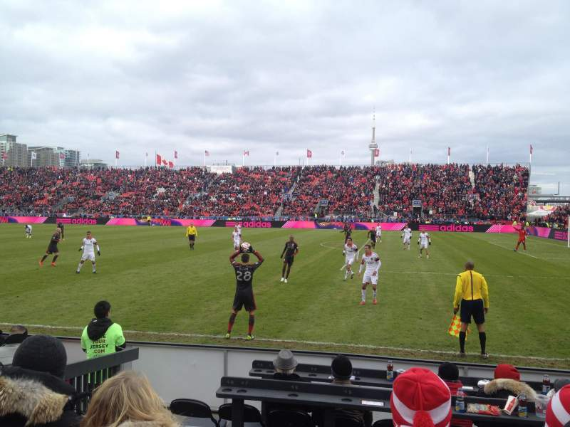 Seating view for BMO Field Section 121 Row 3 Seat 3-4