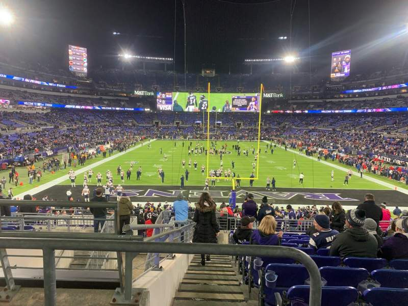 Seating view for M&T Bank Stadium Section 113 Row 30 Seat 18