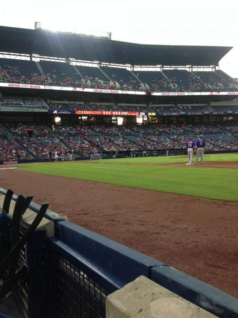Seating view for Turner Field Section 117 Row 1 Seat 1