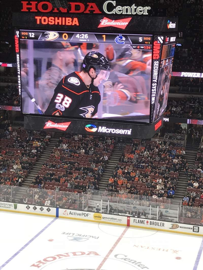 Seating view for Honda Center Section 410 Row K Seat 9