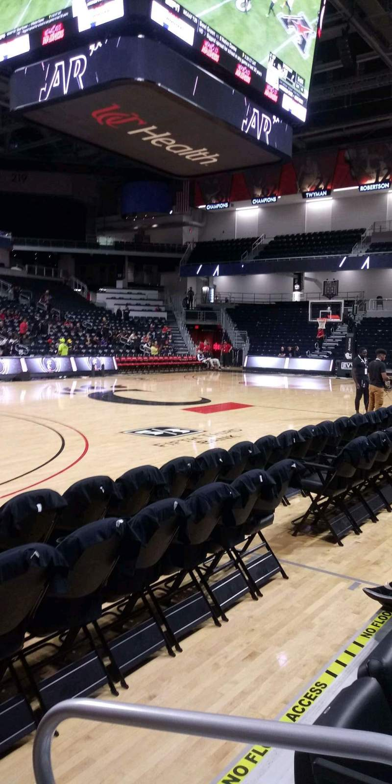 Seating view for Fifth Third Arena Section 106 Row 2 Seat 1
