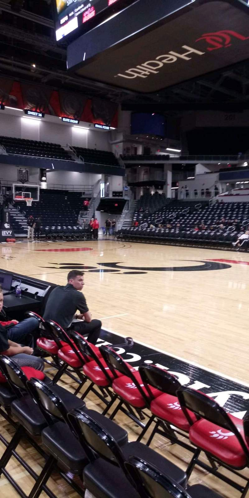Seating view for Fifth Third Arena Section 115 Row 1 Seat 3