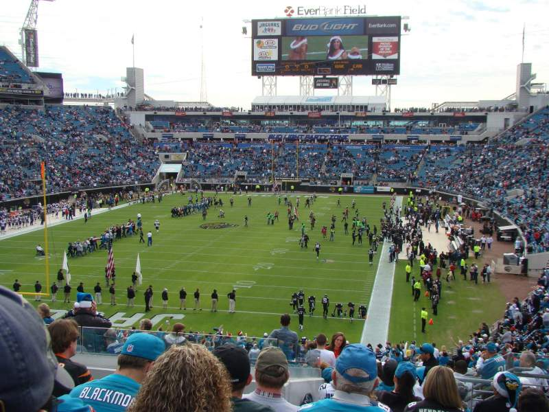 Seating view for EverBank Field Section 221 Row M Seat 4