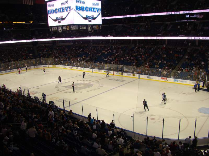 Seating view for Amalie Arena Section CLB20 Row A Seat 1