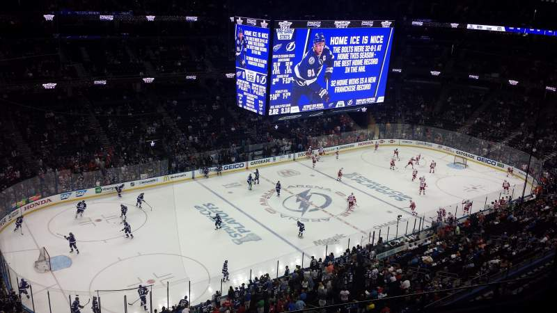 Seating view for Amalie Arena Section 319 Row G Seat 12
