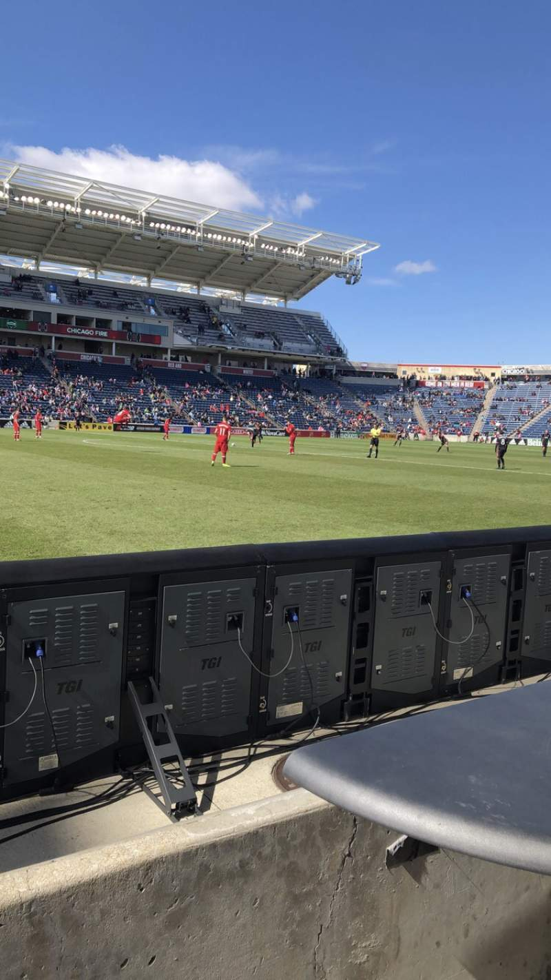 Seating view for SeatGeek Stadium Section Fieldside Row 1 Seat 8