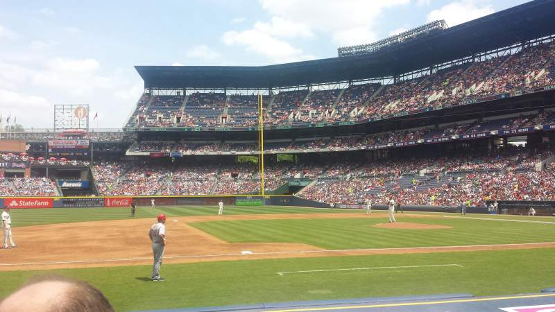 Seating view for Turner Field Section 116R Row 7 (2nd row) Seat 5