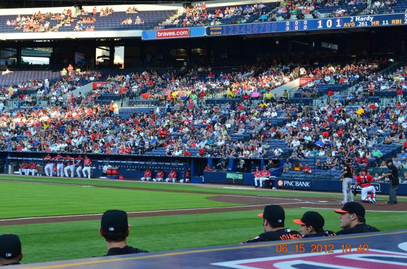 Seating view for Turner Field Section Dugout 116 Row 6 (actual 1s Seat 5 and 6