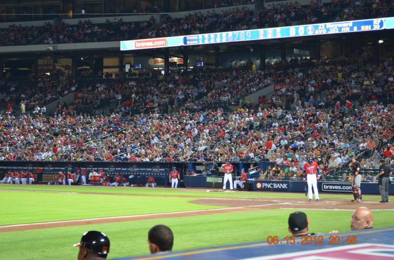 Seating view for Turner Field Section Dugout 116 Row 6 (actual 1st) Seat 5 and 6