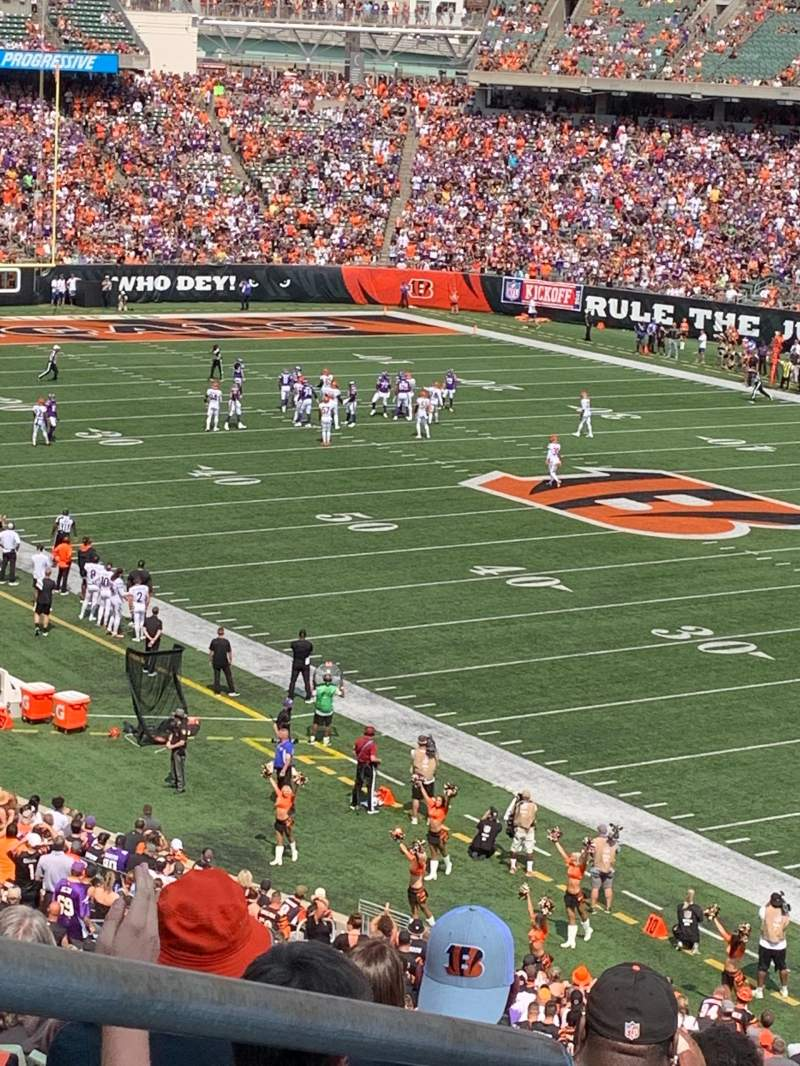 Seating view for Paul Brown Stadium Section 202 Row 8 Seat 13
