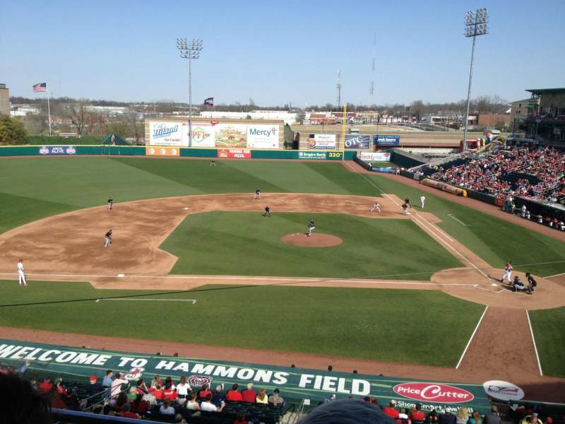 Seating view for Hammons Field Section BB Row 2 Seat 3
