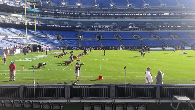 Seating view for M&T Bank Stadium Section 103 Row 4 Seat 1