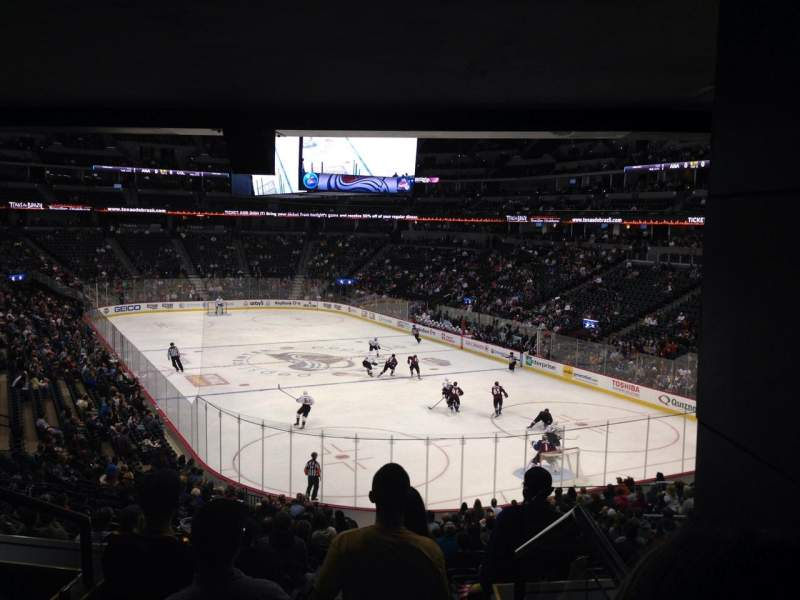 Seating view for Pepsi Center Section 116 Row 20 Seat 1