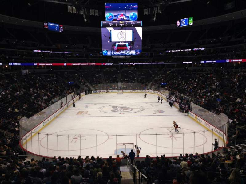 Seating view for Pepsi Center Section 112 Row 20 Seat 1