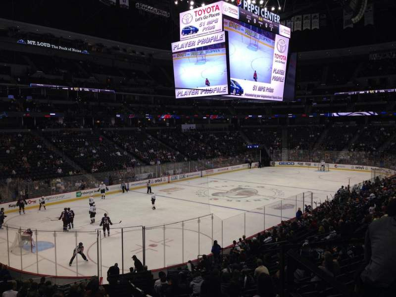 Seating view for Pepsi Center Section 106 Row 20 Seat 1