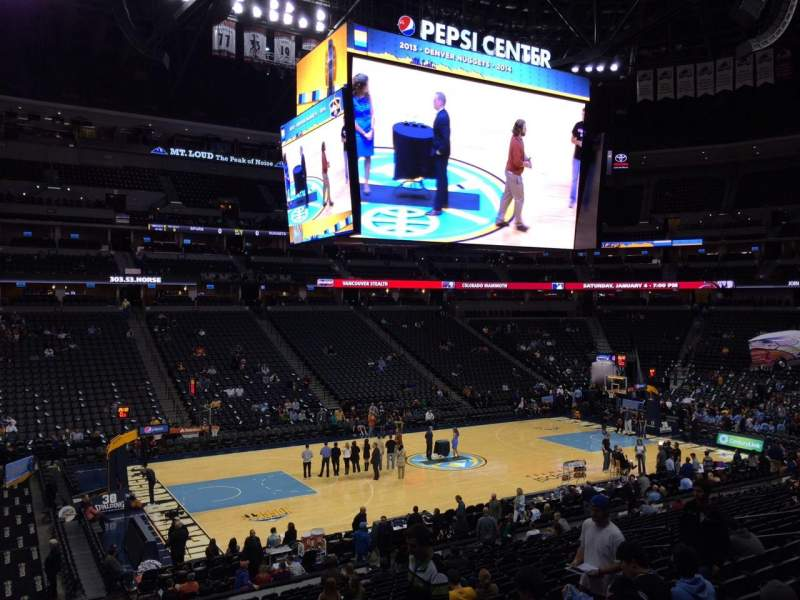Pepsi Center, section: 104, row: 22, seat: 18