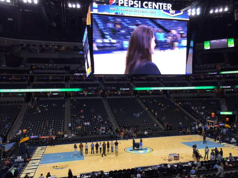Pepsi Center, section: 102, row: 19, seat: 18