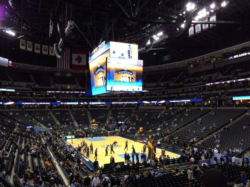 Seating view for Pepsi Center Section 140 Row 22 Seat 18