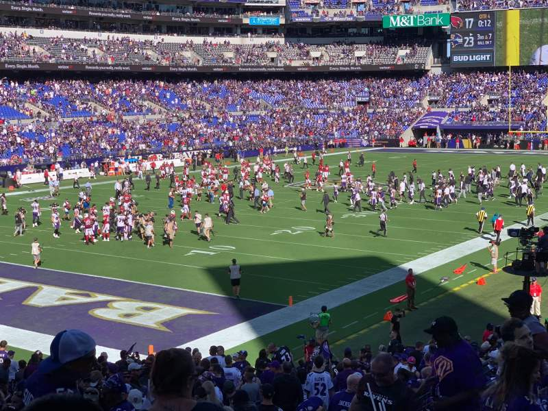 Seating view for M&T Bank Stadium Section 135 Row 28 Seat 6