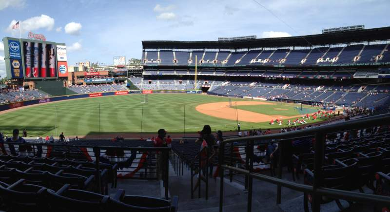 Seating view for Turner Field Section 222 Row 6 Seat 101