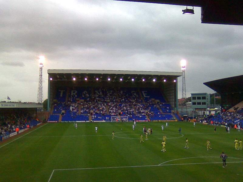 Seating view for Prenton Park Section Cowshed Stand Row V Seat 25