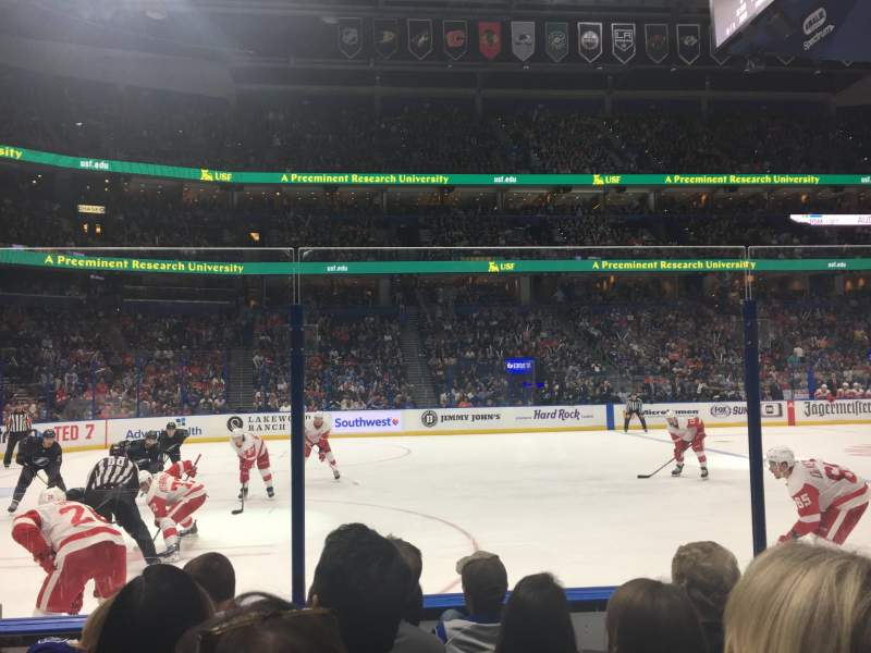 Seating view for Amalie Arena Section 118 Row E Seat 5