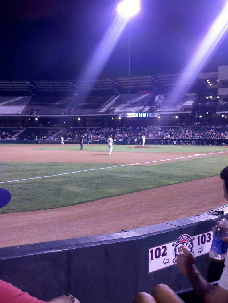 Seating view for Chickasaw Bricktown Ballpark Section 102 Row C Seat 3