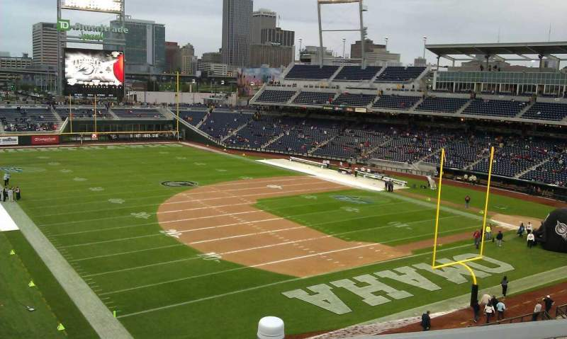 Seating view for TD Ameritrade Park Section 221 Row 9 Seat 1