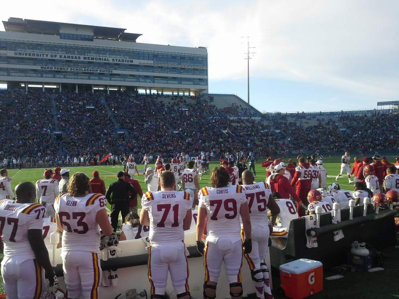 Seating view for David Booth Kansas Memorial Stadium Section 22 Row 1
