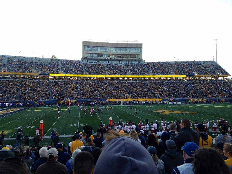 Seating view for Mountaineer Field Section 104 Row 17 Seat 29