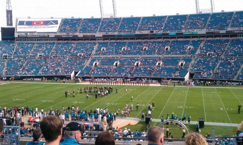 Seating view for Everbank Field Section 207 Row J Seat 4